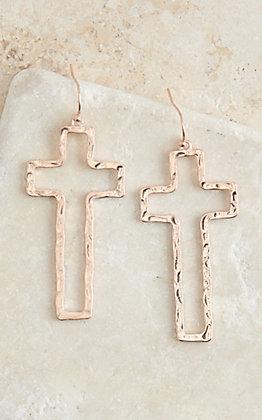 Amber's Allie Silver Open Cross Earrings