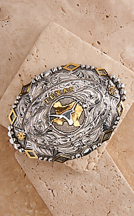 AndWest Silver and Gold Oval with Texas State and Longhorn with Diamond Edges Buckle