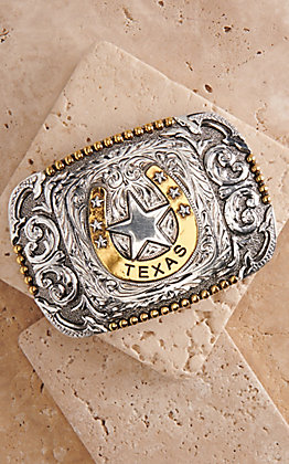 AndWest Silver and Gold Texas Star and Horseshoe Rectangular Belt Buckle