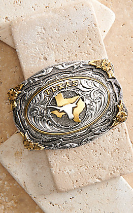 AndWest Silver and Gold Texas Longhorn with Floral Frame Belt Buckle