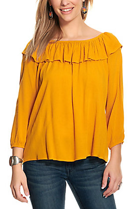 Rockin C Women's Mustard Off Shoulder Long Sleeve Top