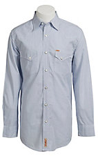 Rafter C Men's Blue and White Plaid Western Shirt