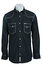 Rafter C Men's Black with Grey Geometric Print Western Shirt