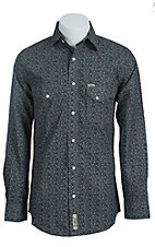 Rafter C Men's Black with White Paisley Print Western Shirt