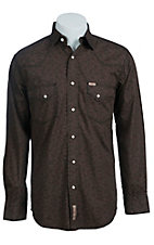 Rafter C Men's Chocolate Floral Print Western Shirt