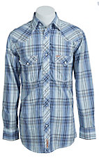 Rafter C Men's Blue Plaid Chocolate Dobby Print Western Shirt