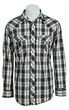 Rafter C Men's Black and Cream Plaid Western Shirt