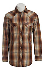 Rafter C Men's Brown Plaid Fade Western Shirt