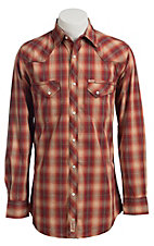 Rafter C Men's Red and Khaki Plaid Western Shirt
