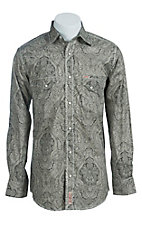 Rafter C Men's Cream and Black Wallpaper Print Western Shirt