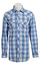 Rafter C Men's Light Blue and White Plaid Western Shirt