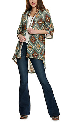 Rockin C Women's Spruce and Brown Aztec Pattern 3/4 Sleeve Kimono
