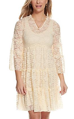 Rockin C Women's Cream Lace Tiered Dress