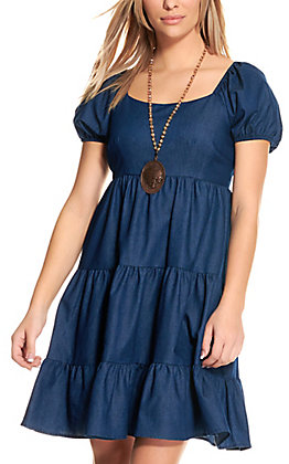 Rockin' C Dark Wash Denim Puff Sleeve Tiered Dress