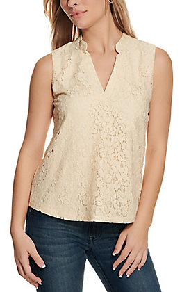 Rockin C Women's Cream Lace Tank Top
