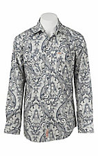 Rafter C Men's Navy and Grey Paisley Print Long Sleeve Western Snap Shirt
