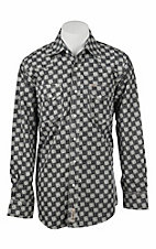 Rafter C Men's Black and White Cloud Print Long Sleeve Western Snap Shirt