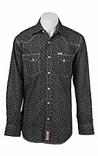 Rafter C Men's Black and White Ditzy Floral Print Long Sleeve Western Snap Shirt