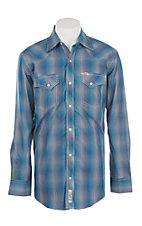 Rafter C Cowboy Collection Shades of Blue Mini Plaid Print L/S Western Snap Shirt