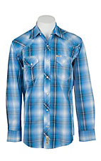 Rafter C Cowboy Collection Men's Blue and Navy Plaid L/S Western Snap Shirt