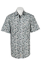 Rafter C Cowboy Collection Men's Dark Grey with Light Blue Paisley S/S Western Shirt