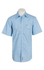Rafter C Cowboy Collection Men's Light Blue with Paisley S/S Western Snap Shirt