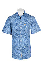 Rafter C Cowboy Collection Men's Blue Tonal Wallpaper S/S Western Snap Shirt