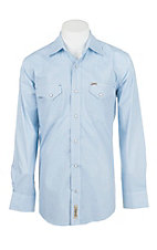 Rafter C Cowboy Collection Men's Light Blue with White Circles L/S Western Snap Shirt