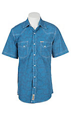 Rafter C Cowboy Collection Men's Blue Floral S/S Western Shirt
