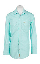 Rafter C Cowboy Collection Men's Mint Green Gingham L/S Western Snap Shirt