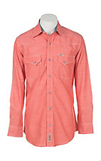 Rafter C Cowboy Collection Men's Orange Coral Chambray S/S Western Snap Shirt