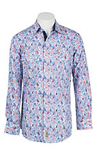 Rafter C Cowboy Collection Men's Blue and Red Paisley Print L/S Western Snap Shirt