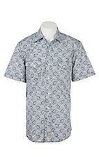 Rafter C Cowboy Collection Men's White with Navy Paisley S/S Western Shirt