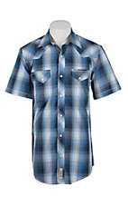 Rafter C Cowboy Collection Men's Blue Plaid S/S Western Snap Shirt