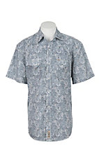 Rafter C Cowboy Collection Men's Grey and Blue Paisley S/S Western Snap Shirt