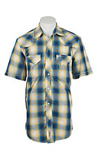 Rafter C Cowboy Collection Men's Yellow and Blue Large Plaid S/S Western Snap Shirt