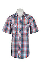 Rafter C Cowboy Collection Men's Red and Blue Plaid S/S Western Snap Shirt