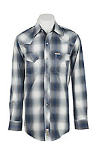 Rafter C Cowboy Collection Men's Grey and Blue Plaid  L/S Western Snap Shirt