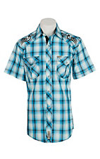 Rafter C Cowboy Collection Men's Turquoise Short Sleeve Western Snap Shirt