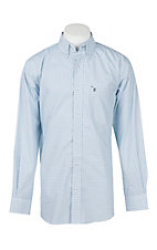 Rafter C Cowboy Collection Men's Light Blue Mini Print L/S Western Shirt