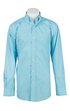 Rafter C Cowboy Collection Men's Turquoise and White Mini Plaid L/S Western Shirt