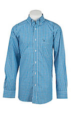 Rafter C Cowboy Collection Men's Bright Blue Plaid L/S Western Shirt