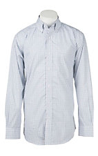 Rafter C Cowboy Collection Men's White and Blue Plaid L/S Western Shirt