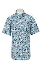 Rafter C Cowboy Collection Men's White with Teal Paisley Short Sleeve Western Shirt