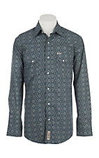Rafter C Cowboy Collection Navy & Teal Medallion Print L/S Western Snap Shirt