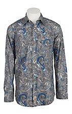 Rafter C Cowboy Collection Men's Grey and Blue Paisley L/S Western Snap Shirt