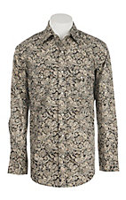 Rafter C Cowboy Collection Men's Black with Cream & Khaki Paisley L/S Western Snap Shirt
