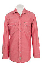Rafter C Cowboy Collection Men's Red Chambray L/S Western Snap Shirt