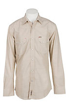 Rafter C Cowboy Collection Men's Chambray Solid Khaki L/S Western Snap Shirt