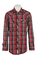Rafter C Cowboy Collection Red with White and Teal Plaid L/S Western Snap Shirt